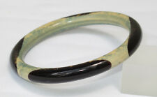 Vintage Celluloid Bracelet Bangle Art Deco Art Nouveau sponge design green black