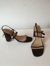 Free Lance Suede Brown High Heels Strap PT Sandals, FR38