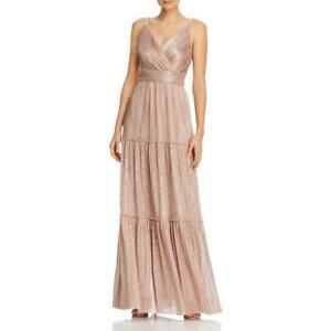 Aqua Womens Metallic V-Neck Formal Evening Dress Gown BHFO 4837