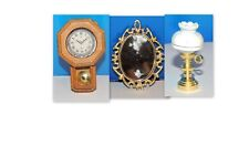 3 PCS. CLOCK + MIRROR+ LAMP DOLLHOUSE ACCESSORIES MINIATURE  1:12 SCALE NEW !