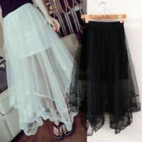 Ladies Women See Through Gauze Mesh Tulle Lace Floral Gothic Long Maxi Skirt