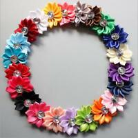 5-25 5CM New Satin Ribbon Flowers Appliques Craft Wedding Party Sewing DIY Decor