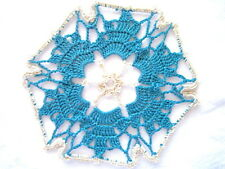 Small Size - Ecru and Turquoise  Colored Hand Crocheted Doily 6 inch