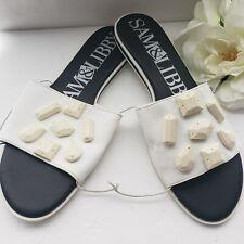 Sam & Libby Womens 10 Embellished Sandals White Stones Flat Slide On