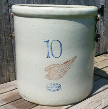 """XLNT Antique 10 Gallon Red Wing Union Stoneware Crock, Bail Handles, 6"""" Wing"""