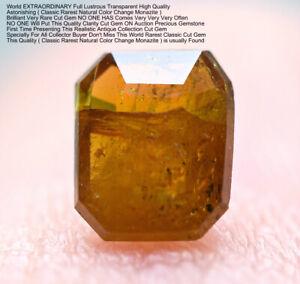 0.30 CT Ultra Rare Transparent Color Change Monazite Wit Needles Cut Gemstone@PK