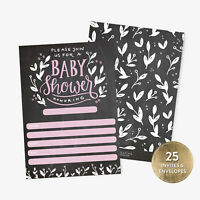 25 Baby Shower Invitations Girl with Envelopes Pink Handlettered Chalkboard