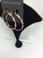 $38 Vince cameo rose gold tone large pave hoop earrings Mv3