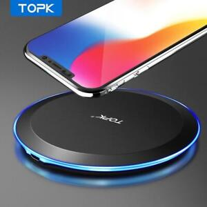 Wireless Charger 10W Slim Fast Charging Genuine TOPK for Samsung S8 S9 S10 S20 X