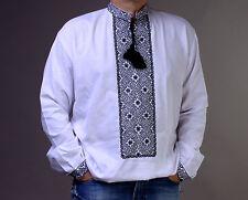 FATHER'S DAY GIFT IDEA Vyshyvanka man Embroidery shirt White homespun Cloth