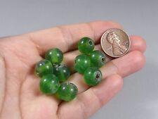 10 Vintage Transparent Green  Chinese Peking Glass Trade BEADS #110