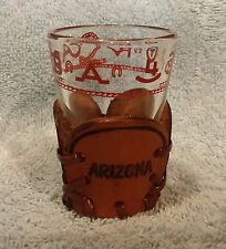 Arizona Shot Glass Leather Holder Cowboy Rope Rodeo Steer Short Whiskey Tequila
