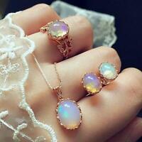 Crystal Gemstone Opal Pendant Necklaces Earrings Ring Women Jewelry Set HY