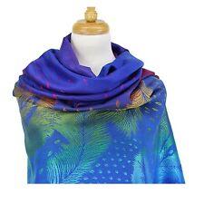 Women Rainbow Pashmina Scarf Royal Blue Feather Print Light Weight Wrap Shawl