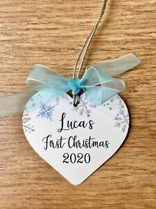 Personalised Baby's First Christmas Bauble Pretty Heart Shape Metal Baby Boy