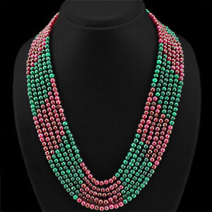 TOP BRILLIANT 484.00 CTS NATURAL 6 LINE RED RUBY & GREEN EMERALD BEADS NECKLACE