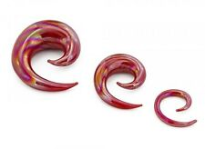 """PAIR-Tapers Spiral Glass Iridescent Red 12mm/1/2"""" Gauge Body Jewelry"""