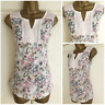 NEW EX PER UNA M&S IVORY PINK LEMON NAVY ABSTRACT FLORAL TOP SIZE 8 - 22