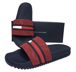 Tommy Hilfiger Mens Roben Pool Slide Sandals Red Navy Blue Slip On size 9 10 11