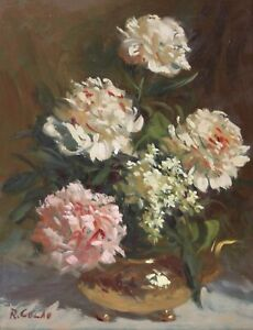 RUDOLPH COLAO-MA Realist-Original Signed Oil-Pink and White Floral Still Life