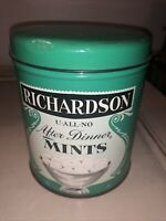 "RARE VINTAGE RICHARDSON U-ALL-NO AFTER DINNER MINTS TIN WITH LID 5"" TALL"