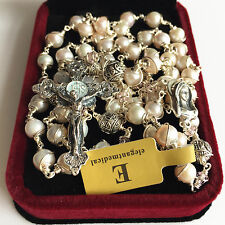 Bali 925 Sterling Silver Beads & AAA White Pearl Rosary NECKLACE Cross CATHOLIC