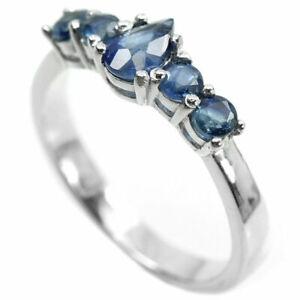 LOVELY STERLING RING DEEP BLUE SAPPHIRE  SZ 0