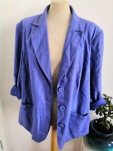 Ladies Size 24 Blazer Jacket Linen Blend Purple