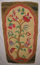 "RARE ANTIQUE HOOKED THROW RUG TREE OF LIFE DESIGN CA 1850-1900  2' 6"" x 4' 8"""