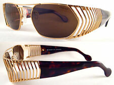 RARE & VINTAGE HOLLYWOOD STYLE UNISEX SUNGLASSES METAL / GOLD / BROWN,
