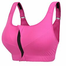 Newlashua Womens High Support Plus Size Zip Front Close Padded Sports Bra XXXXXL