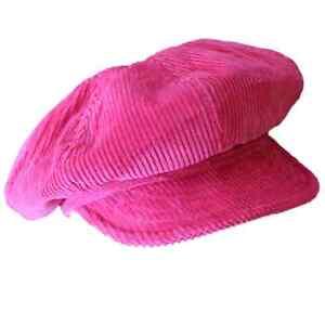 Womens Girls Pink Tweed Corduroy Baker Boy Hat Peaked Fiddler Flat Cap Newsboy