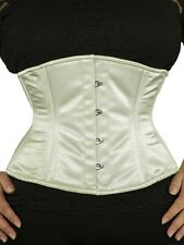 "411 Authentic Ivory Satin 40"" Inch Underbust Corset Double Steel Boned"