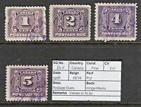 1809 CANADA: SG D1-7 Postage Dues 1906 Values 1c to 5c. Fine. c£77
