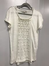SANDRO White/ivory 100% Linen T-shirt Blouse Size 2/ Size M