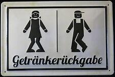 GETRÄNKERÜCKGABE, lustiges Blechschild, TOILETTE , WC, KLO