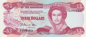 P44a BAHAMAS 1974 (1984) THREE DOLLARS BANKNOTE IN MINT CONDITION