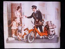 Affiche scolaire 1970 école POSTE FACTEUR PTT MOBYLETTE Motobécane PEUGEOT D3 D4
