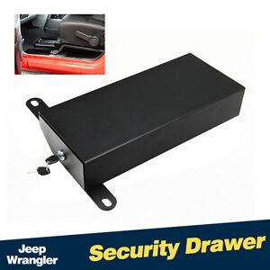 Black Under Seat Passenger Side Lock Box Security Drawer For Jeep Wrangler JK