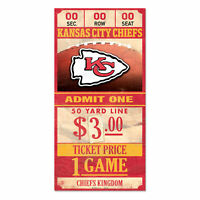Kansas City Chiefs Old Game Ticket Holzschild 30 cm NFL Football Wood Sign