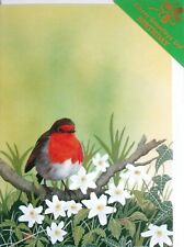 BIRD- ROBIN AND ANEMONIES, BIRTHDAY/GREETINGS CARD - BY CLOVER GREETINGS