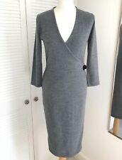 Paul Costelloe Merino Wool Dress Size Small Grey Faux Wrap Jumper Dress Buckle