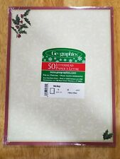 """Geographics Letterhead Christmas Holly and ivy Stationery 50Ct 8 1/2""""x11"""" Paper"""