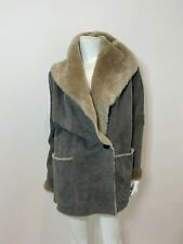 Vince Genuine Hooded Shearling Coat in Grey/Taupe Size S $2395