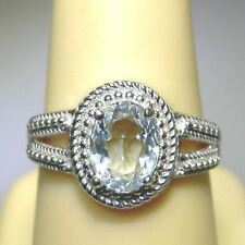 Beautiful Brilliant .98ct Natural AQUAMARINE Solitaire Sterling Silver .925 Ring
