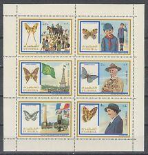 Fujeira 1972 ** Mi.999/04 A Zdr. Pfadfinder Scouts Scouting Schmetterlinge