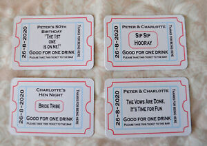 Personalised Wedding/party/hen Guest Free drink Tokens Ticket