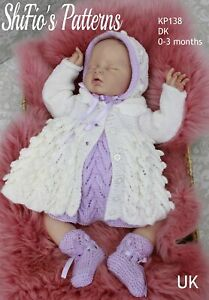 Knitting Pattern for Babies Matinee Jacket, Dress, Bonnet and Bootees, Baby K...