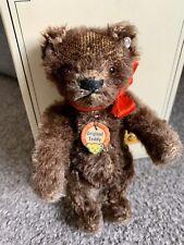 "Rare Vintage Original Teddy 6"" Steiff Dark Brown Bear Chest Tag & button & Box"