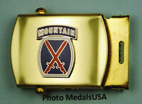 10th MOUNTAIN DIVISION Army Infantry blue Web Belt &  brass buckle